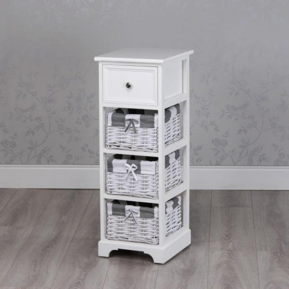 Jill White 3 Basket Slim Storage Unit