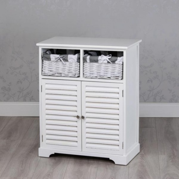 Jill White 2 Door Storage Unit with Baskets