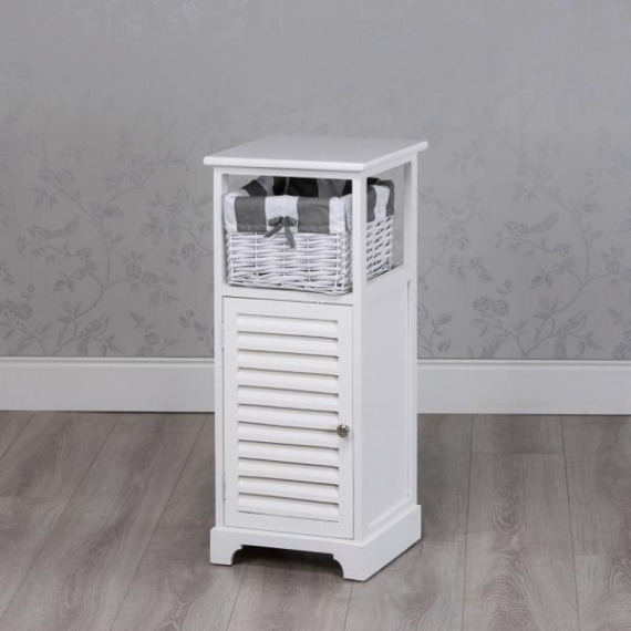 Jill White Slim Storage Unit with Basket