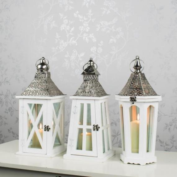 Set of 3 Metal Embossed Lanterns