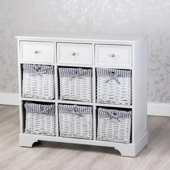 Cally Grey 3 Drawer 6 Basket Storage Unit