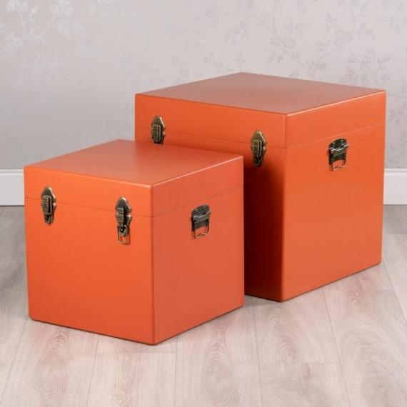 News Set of 2 Square Storage Trunks