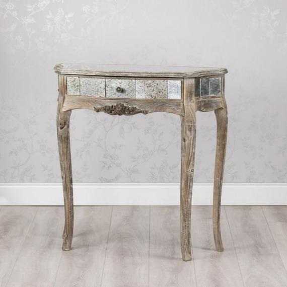 Mercury Vintage Mirrored Half Moon Console Table