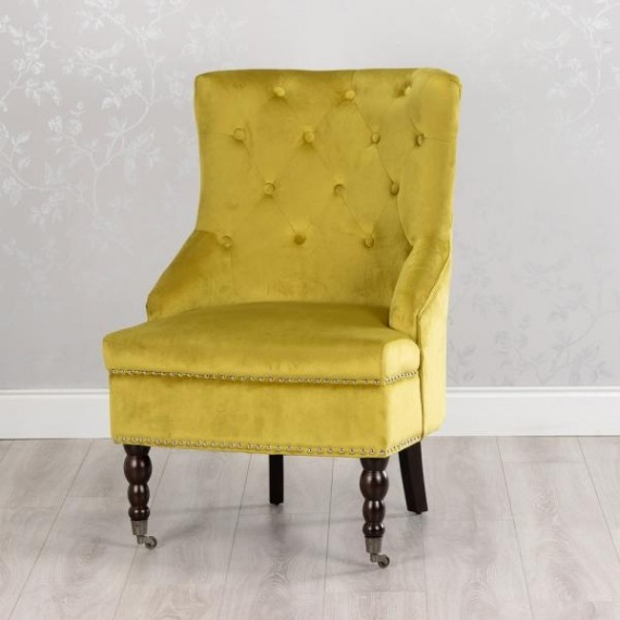Boudoir Mustard Yellow Velvet Accent Chair