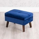 Smooth Velvet Footstool With Legs