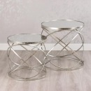 Raja Set of 2 Side Tables with Mirrored Tops
