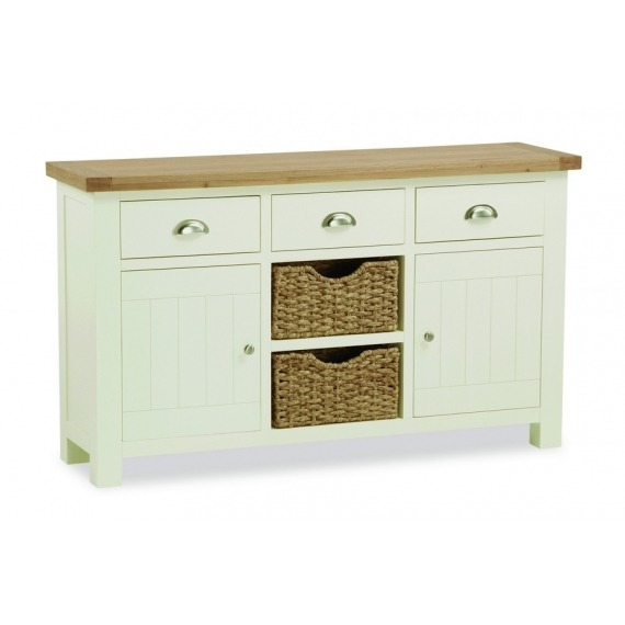 Cream Solid Oak Sideboard Large