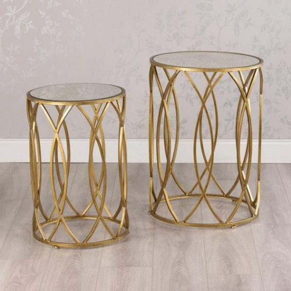 Aida Slim Set of 2 Tables with Mirrored Glass Top