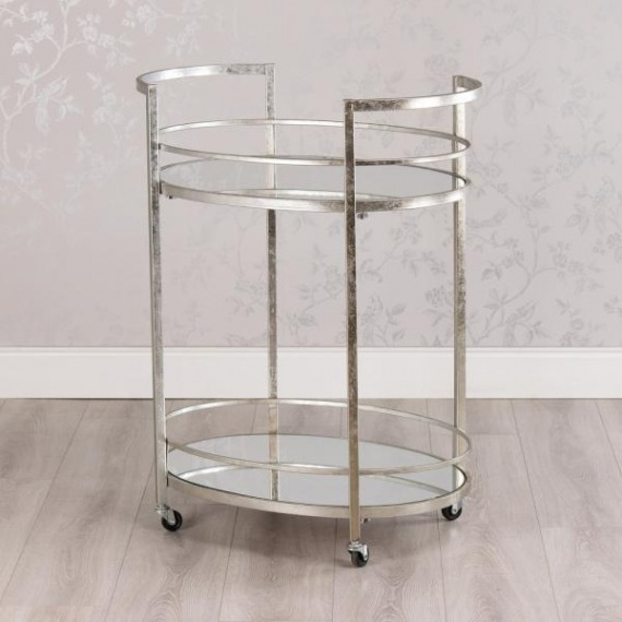 Oval 2 Tier Drinks Trolley with Mirrored Glass Tops