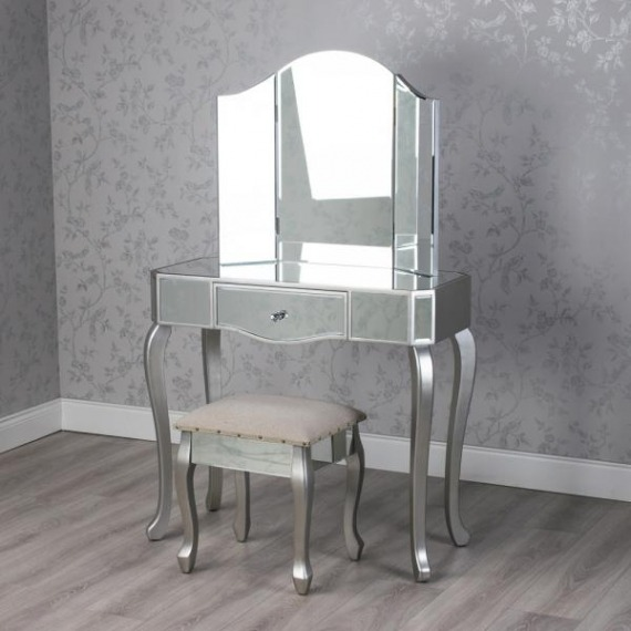 Curved Mirrored Dressing Table Set