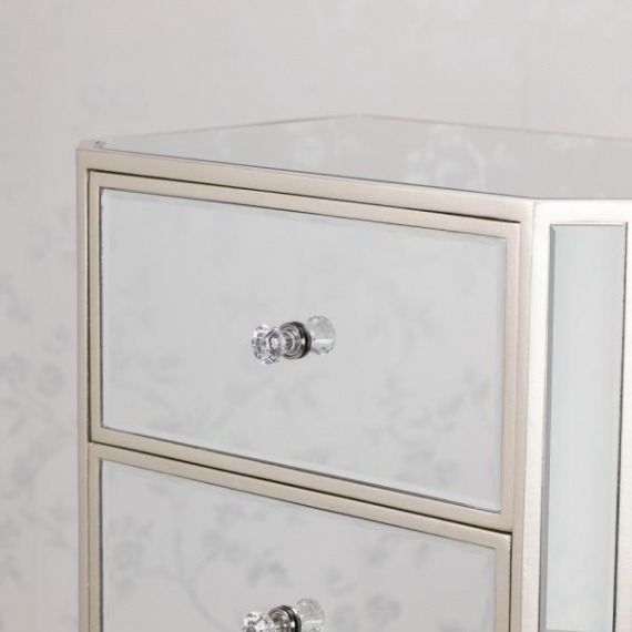 Bowen Mirrored Glass 5 Drawer Tallboy Chest