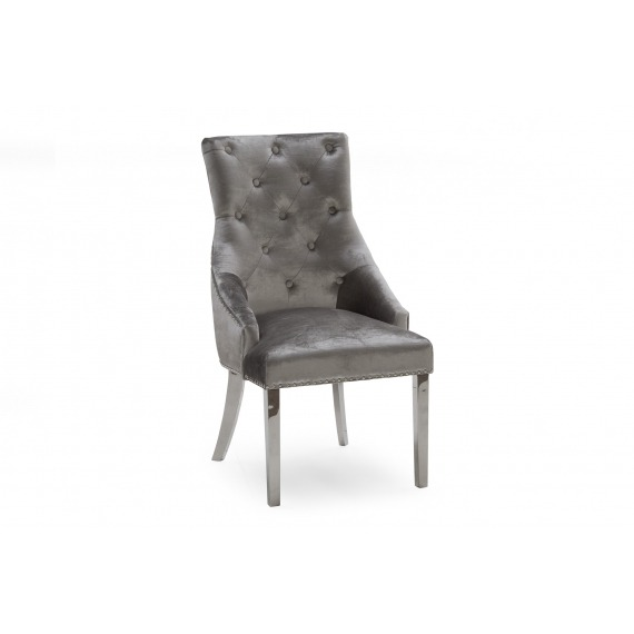 Bay Velvet Dining Chair with Polished Chrome Leg