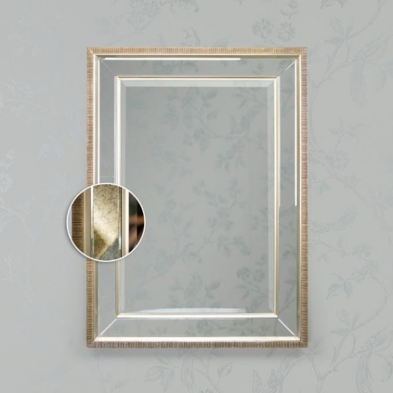 Bowen Rectangular Antique Mirror Champagne Trim