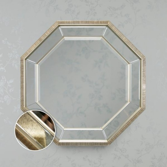 Bowen Antique Octagon Mirror Champagne Trim