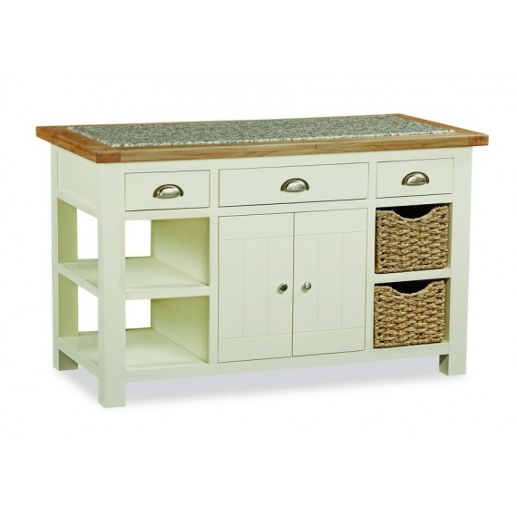 Cream Solid Oak Kitchen Island