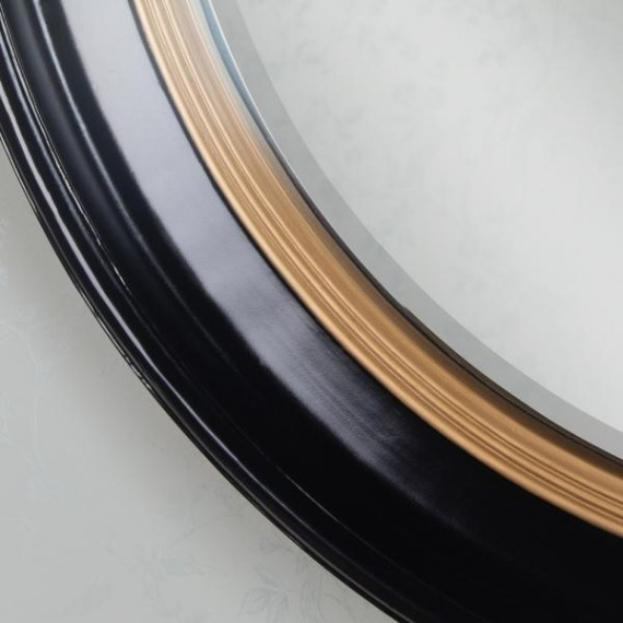 Penny Round Mirror Black/Gold 90cm