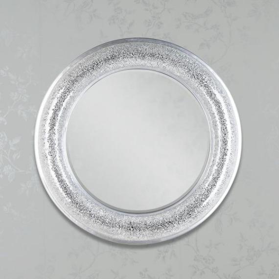 Sarah Silver Mosaic Circular Mirror 80cm