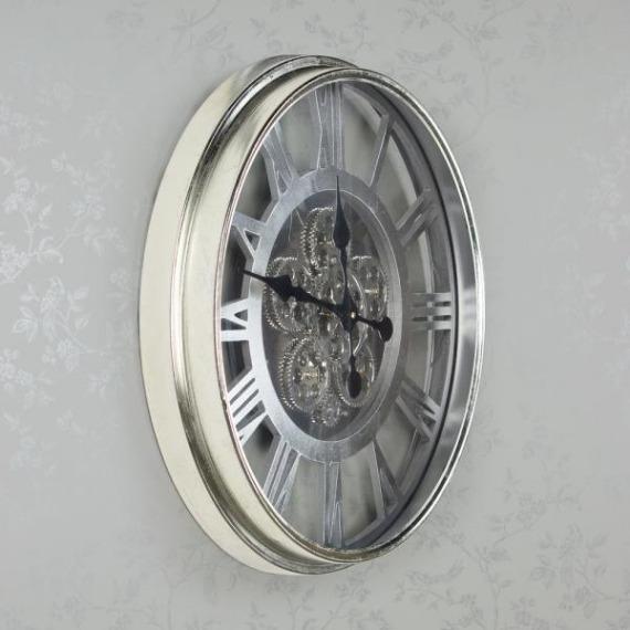 Wesley Round Silver Gears Clock 55cm