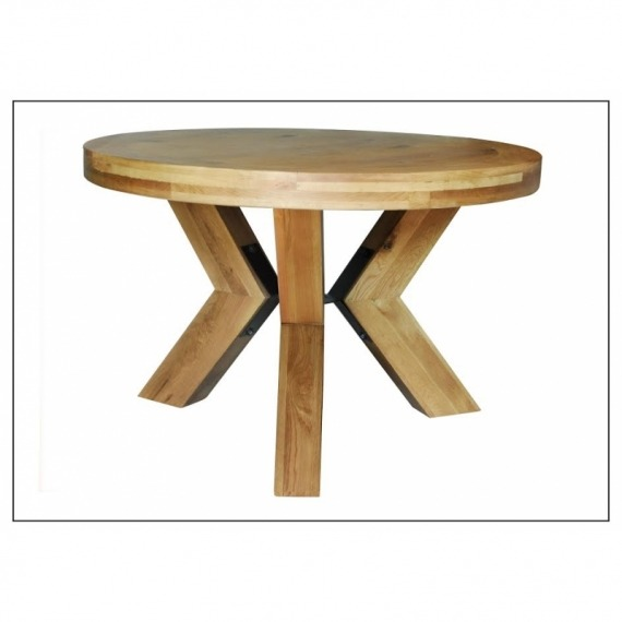 Castle 1.2m Round Oak Dining Table