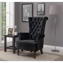 Lisbon Black Velvet Armchair with Diamante Detail