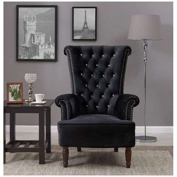 Lisbon Black Velvet Armchair with Diamante Detail