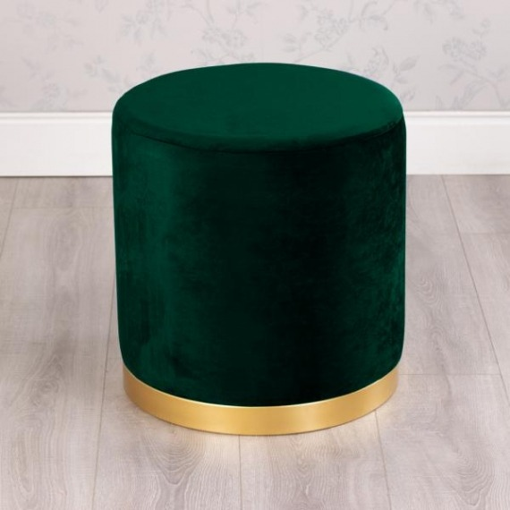 Gold Rim Smooth Velvet Stool