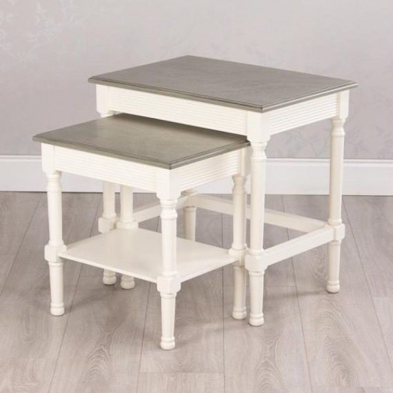 Lebus S/2 Nesting Tables Pearl White/Stone Grey