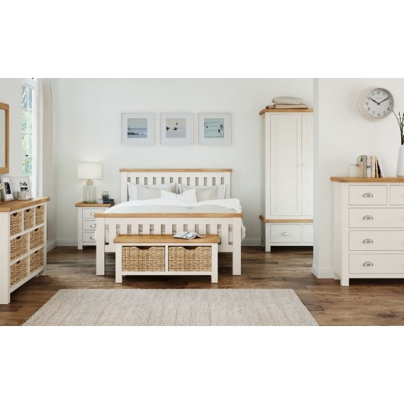 Cream Oak Bed & 2 Lockers