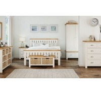 Cream Oak Double Bedframe & 2 Lockers