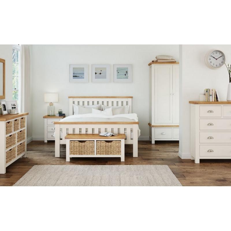 Cream Oak Double Bed 2 Bedsides