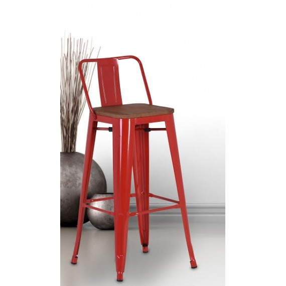 Industrial Counter Stool with Back (Set of 4)