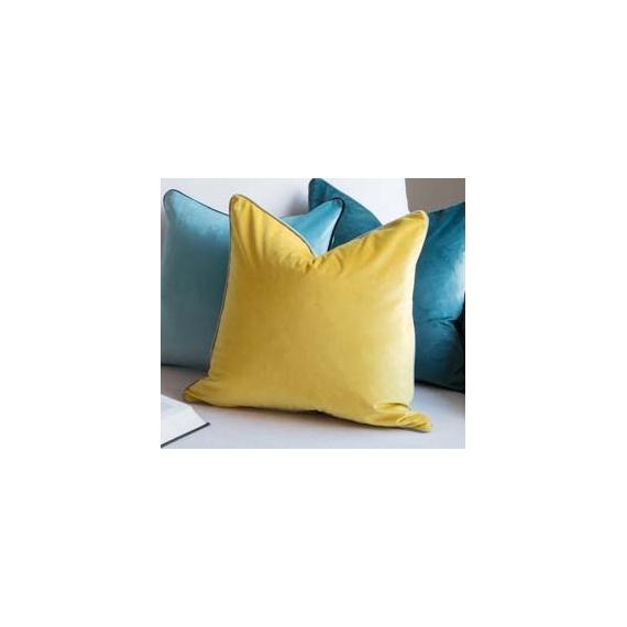 Two Tone Cushion Velvet Mustard-Grey