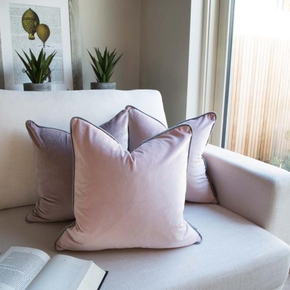 Two Tone Cushion Velvet Nude-Grey