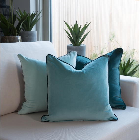Two Tone Cushion Velvet Aqua-Teal