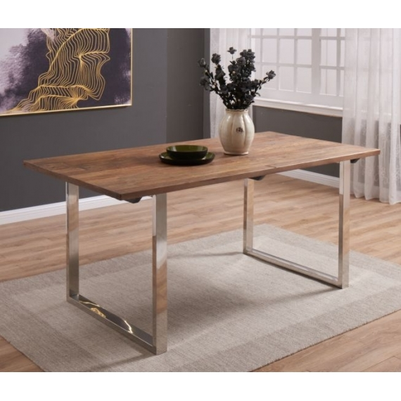 Flori Dining Table chrome/wood