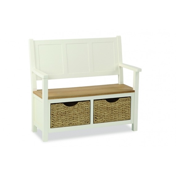 Cream Solid Oak Monks Bench