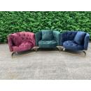 Liza Deep Button Velvet Cuddle Chair