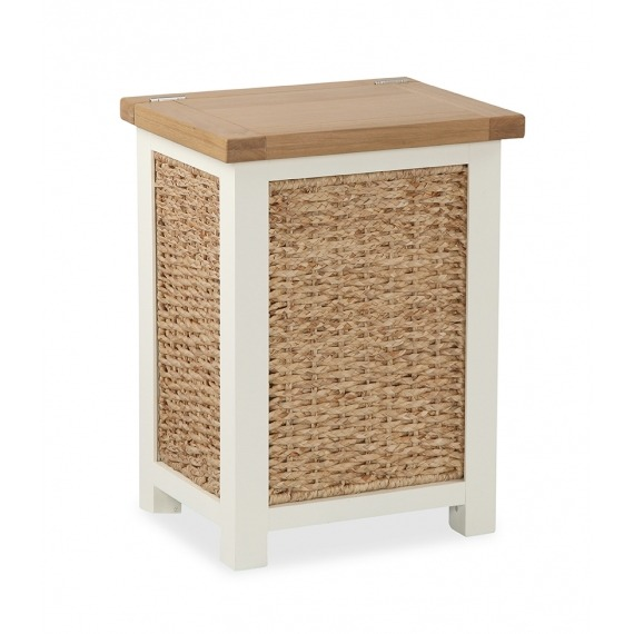 Cream Solid Oak Laundry Basket