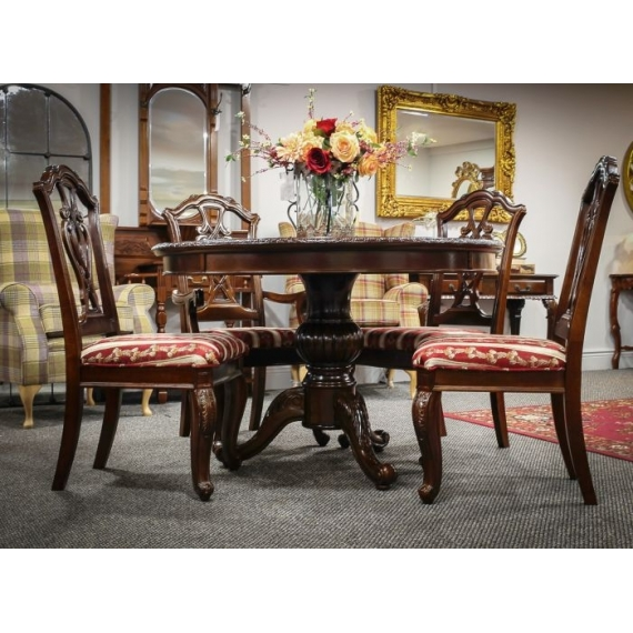 Mardin Mahogany Round Dining Table