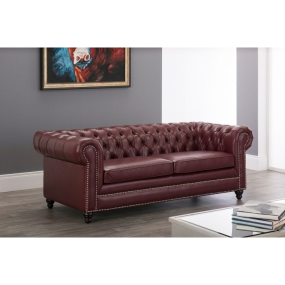 Lowry Leather Chesterfield 3 Seater Sofa-Ox Blood Red