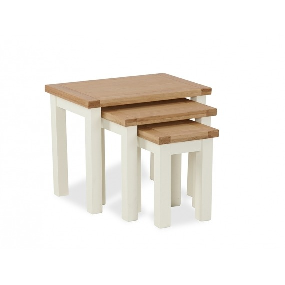 Cream Solid Oak Nest of Tables