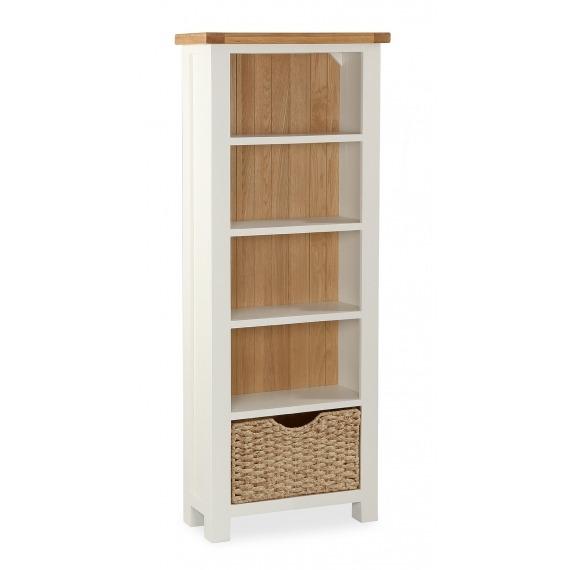 Cream Oak Slim Bookcase