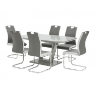 Floris Grey Gloss Dining Set 160cm