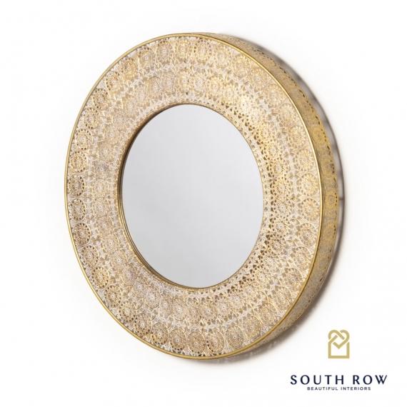 Petunia Round Mirror gold