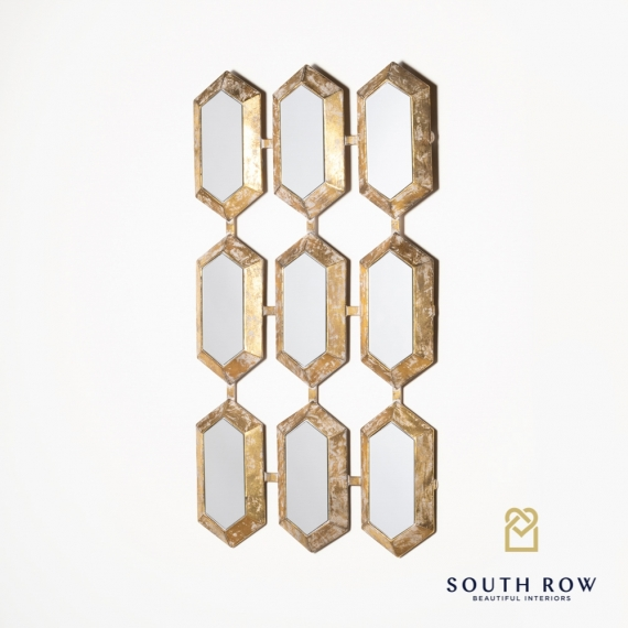 Petunia Hex Accent 9 Section Mirror gold