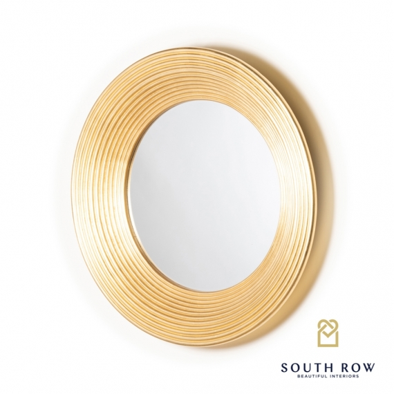 Penzance circle ridged mirror vintage gold