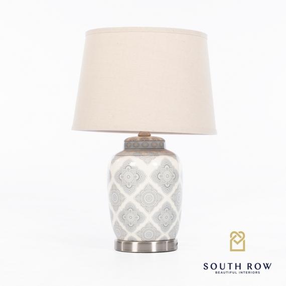 Julianna Ceramic Lamp Satin Silver