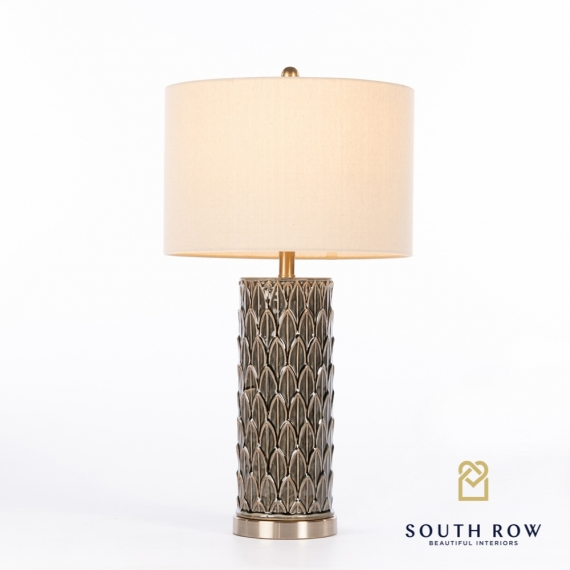 Talia Ceramic Lamp Cylinder Leaf Pattern Deep Green