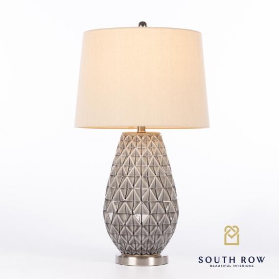 Taylor Ceramic Lamp Geometric Pattern Grey
