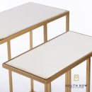 Bella s/2 marble top sofa tables gold